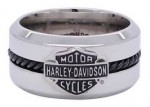 Men's  Wedding Band  Harley-Davidson ®  Mod ®   Stainless Steel  Black Cable  Available in Sizes 9-18  HSR0032  - Product Image