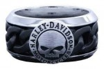 Harley-Davidson®  Stainless Steel  Chain Link Willie G.   Wedding Band   - Product Image