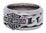 Harley-Davidson ® Wedding Band  Stainless Steel  Chain Link Logo  Available in Sizes 9-15 - Product Image