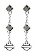 EARRINGS  Harley-Davidson ®  Black Ice  Sterling Silver  Crystal Drop Dangle  Women's Earrings  by Mod ® - Product Image