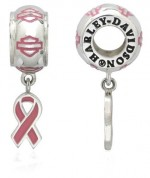 OUT OF STOCK RIDE BEAD  Harley Davidson ® and MOD ®  Pink Label  Sterling Silver  Does fit Pandora  ® - Product Image