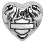 RIDE BEAD  Harley Davidson ®  Made by Mod ®  in Sterling Silver  Flame Heart  Does fit Pandora  ® - Product Image