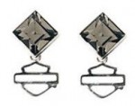 Women's Earrings  Harley-Davidson ®  Sterling Silver  Black Ice Diamond Shape Crystal  - Product Image