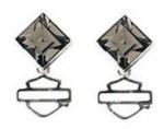 Women's Earrings  Harley-Davidson ®  Sterling Silver  Black Ice Diamond Shape Crystal  - Product Image
