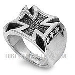 Heavy Stainless Steel Iron Cross Biker RingSizes 9-15FREE SHIPPING - Product Image