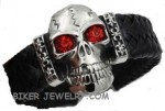 Huge Skull Leather Bracelet  Stainless Steel  FREE SHIPPING - Product Image