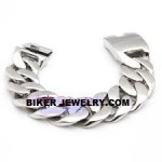 Huge Stainless Steel Men's Curb link Bracelet 9 Inches FREE SHIPPING - Product Image