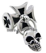Iron Cross Stainless Steel Biker Ring With a Dangling Skull Sizes 9-13FREE SHIPPING - Product Image