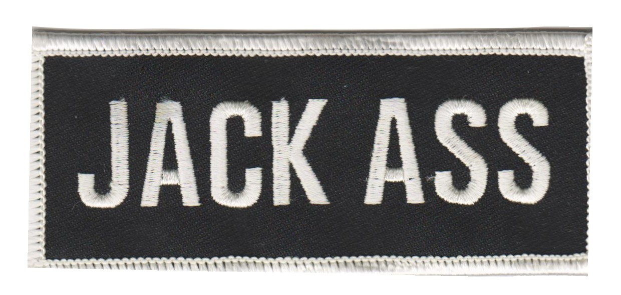 "Jack Ass PatchBiker Patch4"" x 1 3/4 ""FREE SHIPPING - Product Image"