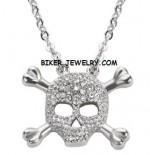 Ladies Pendant  Skull/Cross Bones  Stainless Steel  BLING  FREE SHIPPING - Product Image