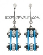 Ladies Earrings  Silver/Turquoise  Stainless Steel  Bling Motorcycle Bike Chain  FREE SHIPPING - Product Image