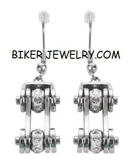 Ladies Earrings  Stainless Steel  Bling Motorcycle  Bike Chain Design  FREE SHIPPING - Product Image