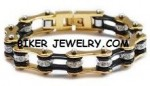 Ladies  Stainless Steel  Gold an Black  Bling Motorcycle Bracelet  with Crystals  4 Lengths  FREE SHIPPING - Product Image