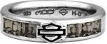 Ladies Harley-Davidson ®  Black Ice Crystal  Comfort Fit Wedding Band  Sterling Silversizes 5-10 - Product Image