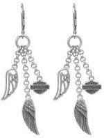 Ladies Harley-Davidson ®   Sterling Silver  Multi-Wing Dangling  Angel Wing Earrings  - Product Image