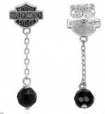 Ladies Earrings  Harley-Davidson ®  Sterling Silver  Black Stone Dangling  - Product Image