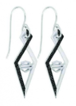 Ladies Harley-Davidson ® Black Ice  Art Deco Earrings in Sterling Silver - Product Image