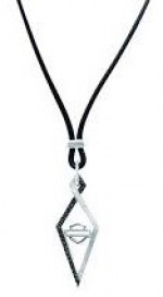 Ladies Harley-Davidson ® Black Ice  Art Deco Necklace  Sterling Silver - Product Image