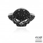 Ladies Harley-Davidson ® Black Ice  Willie G Skull Ring  Sterling Silver  Available in Sizes 5-9 - Product Image