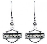 Ladies Harley-Davidson®  Sterling Silver  Marcasite Outline Earrings  by Mod®  - Product Image