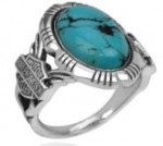 OUT OF STOCK  Harley-Davidson ®  Silver Turquoise Ring  Size 5 Only  - Product Image