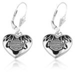 Ladies Harley-Davidson ®  Sterling Silver  Flame Heart Earrings  by Mod ® - Product Image