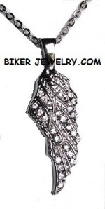 Ladies Pendant  Angel Wing  Stainless Steel  BLING  FREE SHIPPING - Product Image