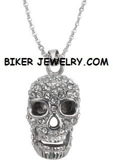 Ladies Pendant  Skull  Stainless Steel  BLING  FREE SHIPPING - Product Image