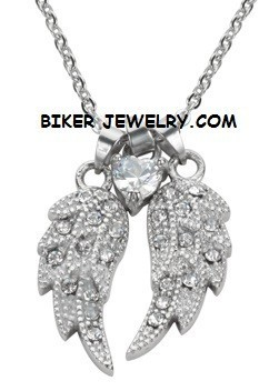 Ladies Pendant  Angel Wings/Heart  Stainless Steel  BLING  FREE SHIPPING - Product Image