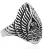Harley Davidson ®/Mod ®  Ladies Sterling Silver  Eagle and Logo Ring  Available in Sizes 5-10 - Product Image