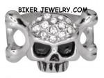 Ladies  Skull/Bones Ring  Imitation Diamonds  Sizes 5-10  FREE SHIPPING - Product Image