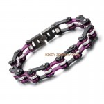 Ladies Stainless Steel  Black an Purple  Bling Motorcycle Bracelet  with Crystals  4 Lengths  FREE SHIPPING - Product Image