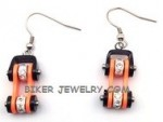 EARRINGS Stainless Steel  Black and Orange  Women's  Bling  Motorcycle  Bike Chain Design  FREE SHIPPING - Product Image
