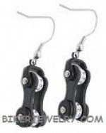 Ladies  Earrings  Stainless Steel  Black on Black  Motorcycle Chain  Bling / Crystals  FREE SHIPPING - Product Image