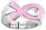 Ladies Stainless Steel Pink Ribbon RingSizes 5-9FREE SHIPPING - Product Image