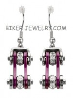 Ladies  Stainless Steel  Chrome / Purple  Motorcycle Earrings  Bling Crystals  FREE SHIPPING - Product Image
