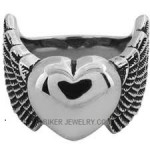 Ladies  Stainless Steel Ring with Heart and Wings  Sizes 5-10  FREE SHIPPING - Product Image