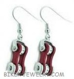 Ladies  Stainless Steel  Silver/Deep Red  Bling Motorcycle Earrings with Crystals  FREE SHIPPING - Product Image