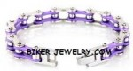 Women's  Stainless Steel  Silver  Vintage Purple  Bling Motorcycle Bracelet with Crystals  4 Lengths  FREE SHIPPING - Product Image