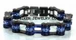 Ladies Stainless Steel  Black / Blue  Bling Motorcycle Bracelet  with Blue Crystals  Police Support  4 Lengths  FREE SHIPPING - Product Image