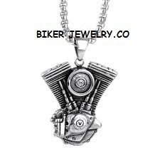 Large V Twin Motor  Stainless Steel  Engine Pendant  with Rope Chain  4 Lengths  FREE SHIPPING - Product Image