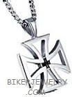 Pendant  Large open  Iron Cross  Stainless Steel  with Rope Chain  4 Lengths  FREE SHIPPING - Product Image