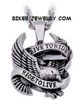 Live to Ride, Ride to Live  Stainless Steel  Large Eagle Pendant  with Rope Chain  4 Lengths  FREE SHIPPING - Product Image