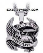 Live to Ride, Ride to Live  Stainless Steel  Large Eagle Pendant  with Rope Chain  FREE SHIPPING - Product Image