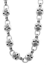 Men's or Women's  Harley-Davidson®  Stainless Steel  Willie G Skull  Necklace - Product Image