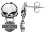 Men or Women's  Harley-Davidson®  Sterling Silver  Willie G Post Earrings - Product Image