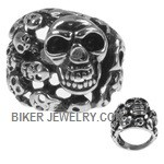 Men's  Stainless Steel  Skull Biker Ring  Sizes 8-16  FREE SHIPPING - Product Image