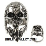 Men's  Stainless Steel  Long Skull Biker Ring  Sizes 7-16  FREE SHIPPING - Product Image