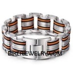 Men's 9 inch Stainless Bracelet with Orange Stripe FREE SHIPPING - Product Image