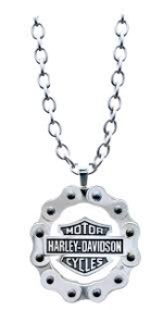 Harley-Davidson®  Mod® Jewelry  Men's or Women's  Stainless Steel  Bike Chain Bar & Shield  Logo Necklace - Product Image